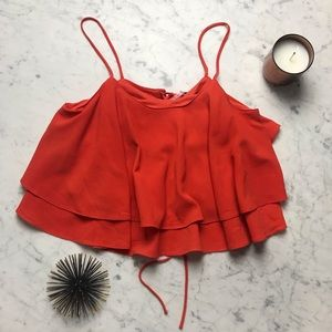 Free People Lace Up Back Boho Chic Tank Crop Top